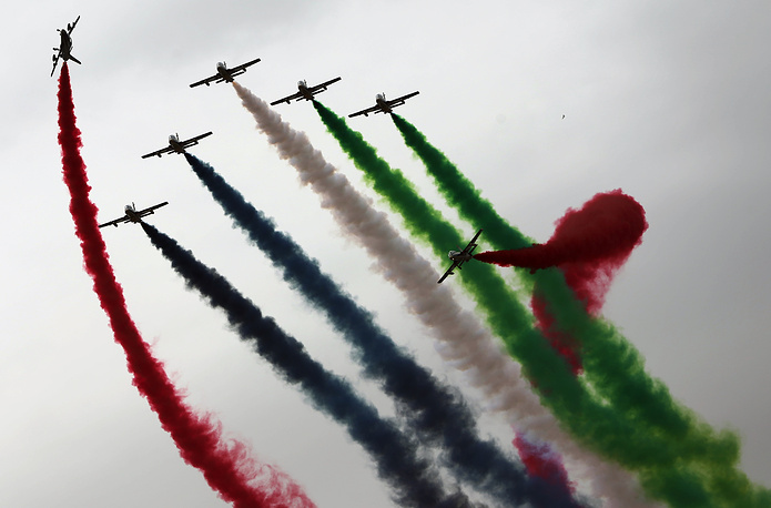 "The ""Al Fursan"", The Knights, UAE Air Force aerobatic display team performing at the IDEX-2015 in Abu Dhabi"
