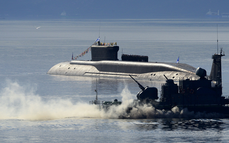 The vessels will be armed with up to 16 Bulava submarine-launched ballistic missiles, which have range of over 8,000 kilometers. Photo: The Borei class nuclear-powered ballistic missile submarine Yuri Dolgoruky taking part in a parade marking the Russian Navy Day