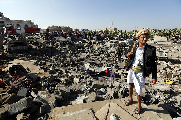 Aftermath of Saudi air strike, in Sanaa, Yemen