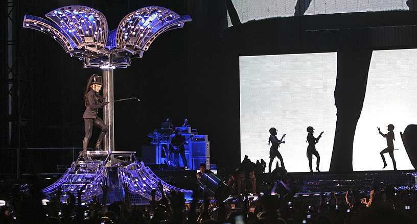 Madonna performing during her first ever concert in Russia at the Luzhniki stadium in Moscow, 2006