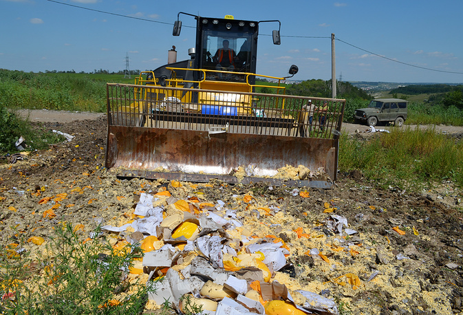 Sanctioned food products being destroyed, Aug. 6