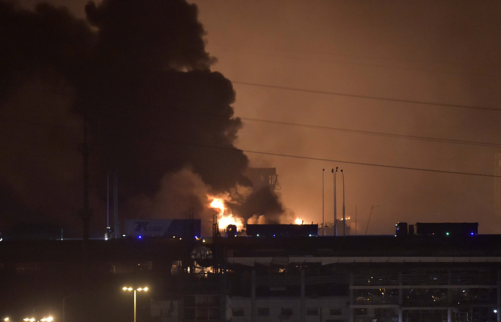 A powerful explosion rocked a warehouse storing chemical goods around midnight local time at the Chinese port of Tianjin late Wednesday