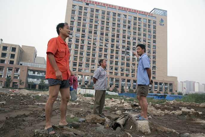 The site of explosions in northeastern China's Tianjin municipality