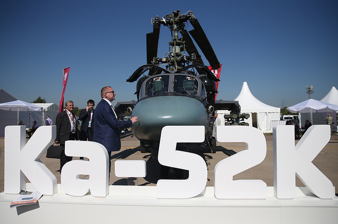 Ka-52K naval attack helicopter on display at MAKS 2015 International Air Show