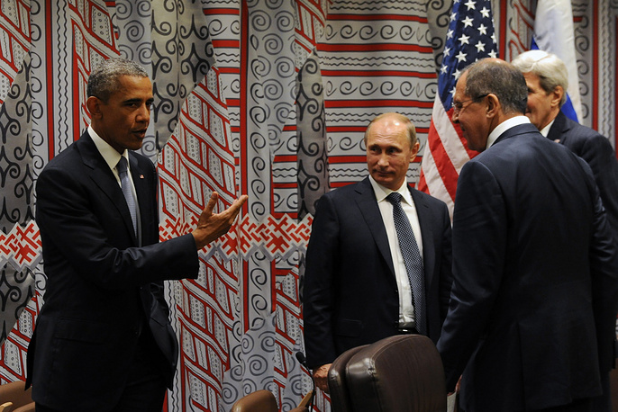 US President Barack Obama, Russia's President Vladimir Putin and Russia's Foreign Minister Sergei Lavrov after their talks on the sidelines of the 70th session of the UN General Assembly