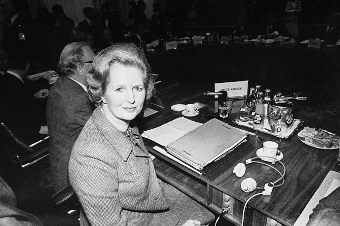 Her political philosophy and economic policies emphasised deregulation, flexible labour markets, the privatisation of state-owned companies, and reducing the power and influence of trade unions. Photo: British Prime Minister Margaret Thatcher at the European Council Headquarters, 1980 in Luxembourg