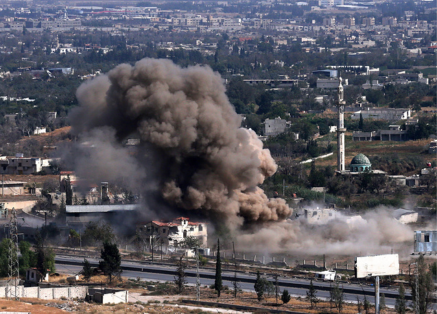 An airstrike delivered by the Russian Air Force on positions of anti-government militants in Harasta, Damascus