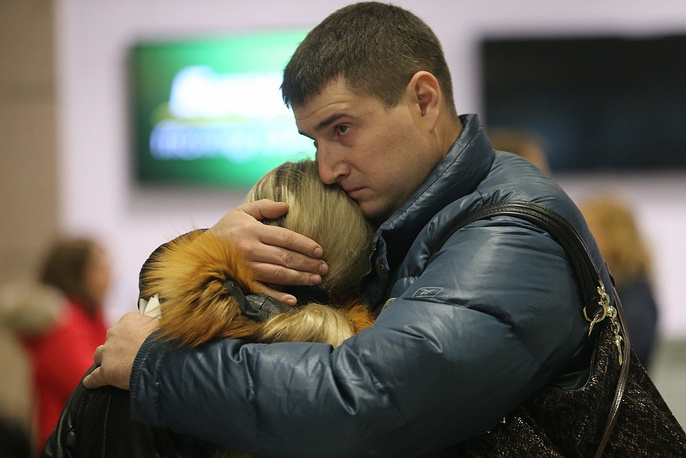 According to Egypt's officials, no one survived. Photo: Relatives of of those on the Metrojet flight that crashed in Egypt, at Pulkovo airport in St.Petersburg, Russia
