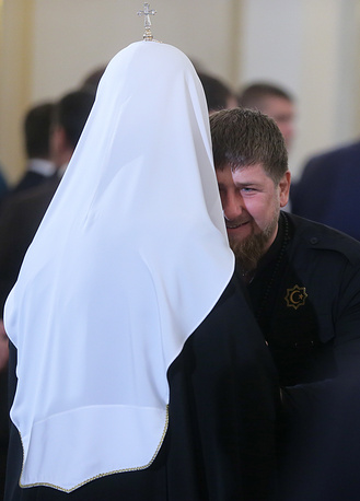 Patriarch Kirill (L) of Moscow and All Russia and Chechen Republic head Ramzan Kadyrov