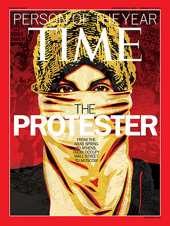 """The Protester"" was the choice for the year 2011, referring to many global protest movements, the Arab Spring, Occupy Movement, as well as protests in Greece, India, Russia, among others"