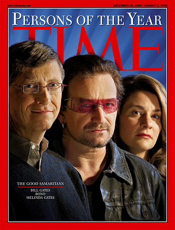 Bono, Bill and Melinda Gates were named Time's People of the Year 2005 for their active philanthropic work