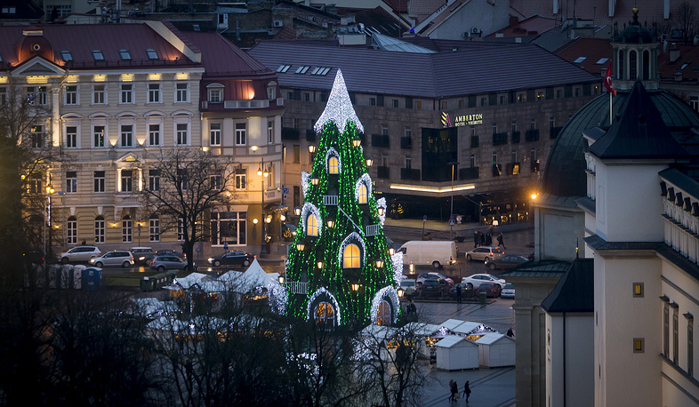 Christmas tree in Cathedral Square in Vilnius, Lithuania