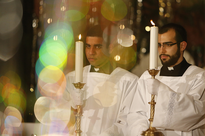 Christmas midnight Mass in Sarajevo's Cathedral, Bosnia