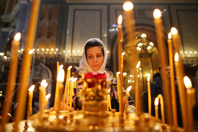 Orthodox Christmas Eve liturgy at the Christ the Saviour Cathedral in Moscow