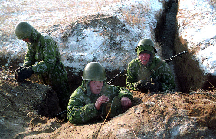 Military engineers of Siberian military district seen during exercises