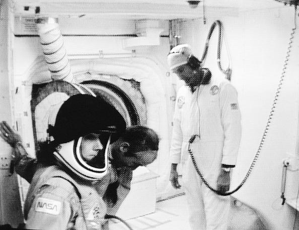 Space teacher Christa McAuliffe in her helmet, in the white room preparing to climb aboard the space shuttle Challenger, January 28, 1986