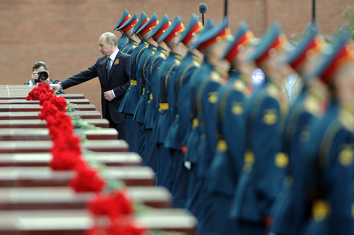 President of Russia Vladimir Putin at the memorial near the Tomb of the Unknown Soldier by the Kremlin wall, 2012