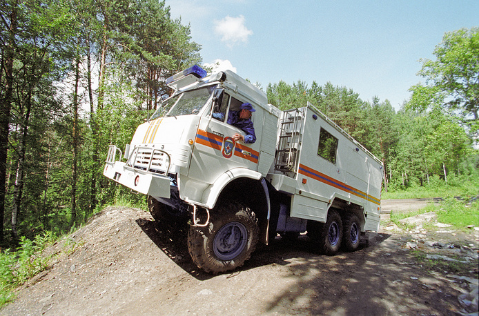 A driver testing the ASM-1 emergency vehicle on Kamaz chassis, 1998