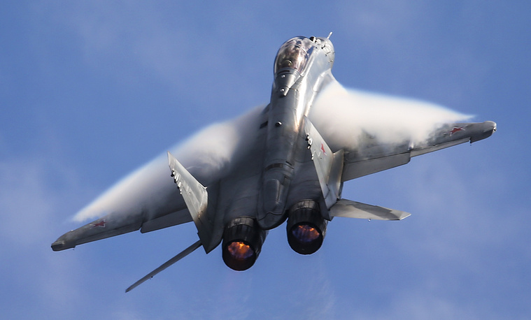 Sukhoi Su-35 fighter jet performing during a demonstration flight at the 2015 MAKS International Aerospace Show