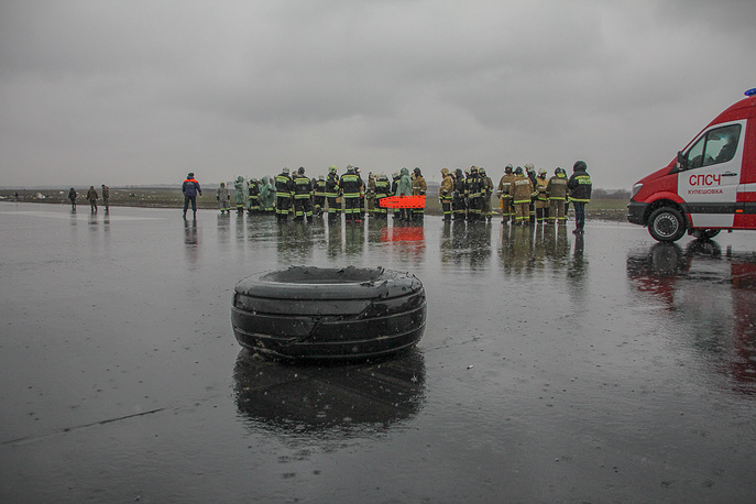 A wheel of a Boeing 737-800, which crashed on the runway of Rostov-on-Don airport