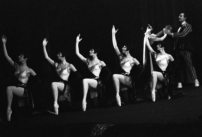 A scene from Dmitri Shostakovich's The Golden Age ballet staged by Yury Grigorovich, 1987