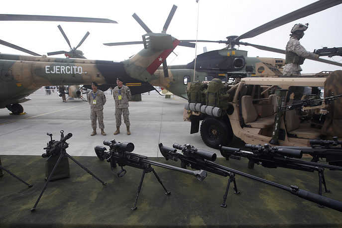 View of the Chilean military equipment during the inauguration of FIDAE-2016 in Santiago