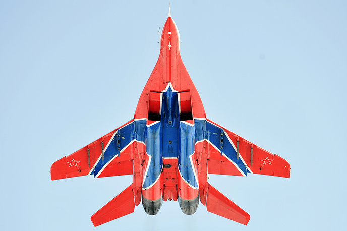 MiG 29 fighter jet of Strizhi (Swifts) aerobatic team seen during Doors Open Day at Kubinka Air Base, 2011
