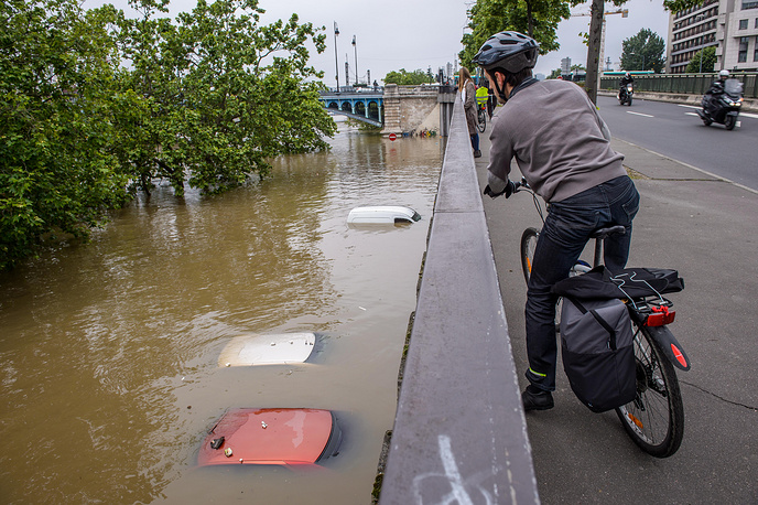 Aftermath of heavy rains in Asnieres, northern suburb of Paris, France