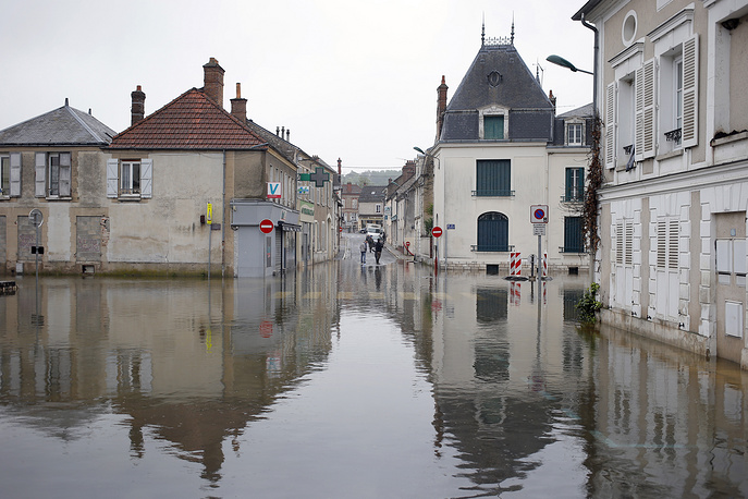 Flooded street in Souppes Sur Loing, France