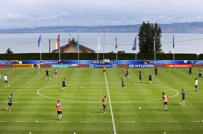 A training session of the German team in the Camille Fournier stadium at their base camp in Evian, France