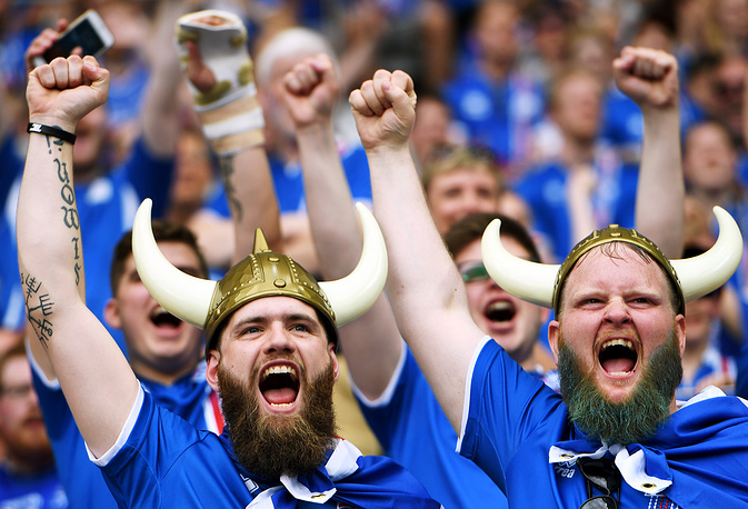 Iceland fans at match between Iceland and Austria, 22 June 2016