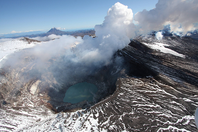 Gorely volcano in the southern part of Kamchatka Peninsula
