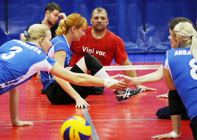 Athletes during the Paralympic training for sitting volleyball