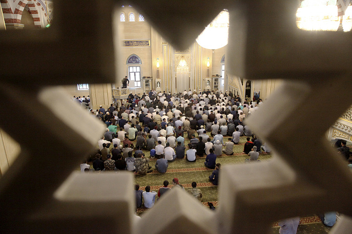 Chechen Muslims in a mosque in Grozny, Russia