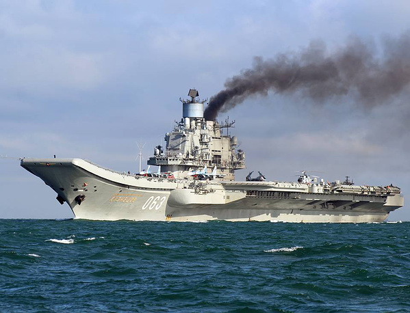 Russian aircraft carrier Admiral Kuznetsov in the English Channel