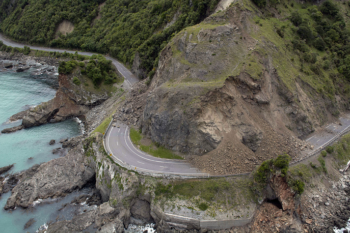 A landslide covers a section of state highway after a powerful earthquake near Kaikoura, New Zealand, November 14