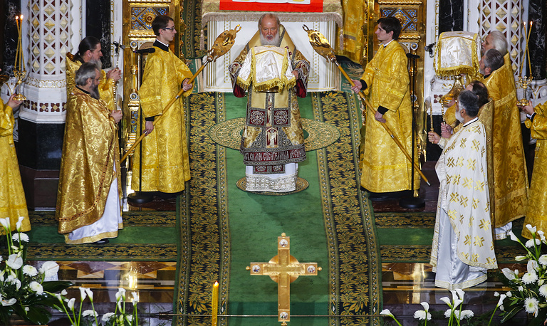 A Divine Liturgy marking the 70th birthday of Patriarch Kirill of Moscow and all Russia at Moscow's Cathedral of Christ the Saviour