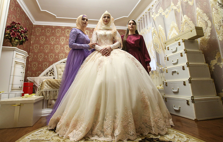 The bride in her room, prepared for a traditional Chechen wedding ceremony, Russia, November 24