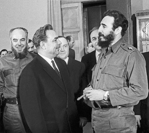 Fidel Castro and Soviet leader Leonid Brezhnev during their meeting in Moscow in 1964