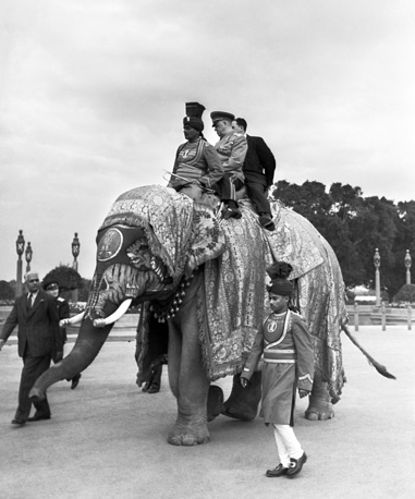 On his 60th birthday, Zhukov received his fourth Hero of the Soviet Union title. Photo: Soviet marshal Georgy Zhukov rides on an elephant`s back during his official visit to India, 1957