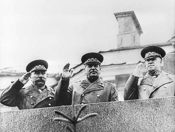 General Secretary of the All-Union Communist Party Joseph Stalin, Red Army Marshals Semyon Budyonny and Georgy Zhukov attend the Moscow Victory Parade in Red Square atop Lenin's Mausoleum on June 24, 1945