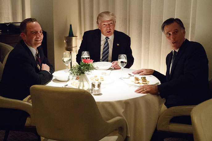 President-elect Donald Trump, Mitt Romney and Trump Chief of Staff Reince Priebus at Jean-Georges restaurant in New York, November 29