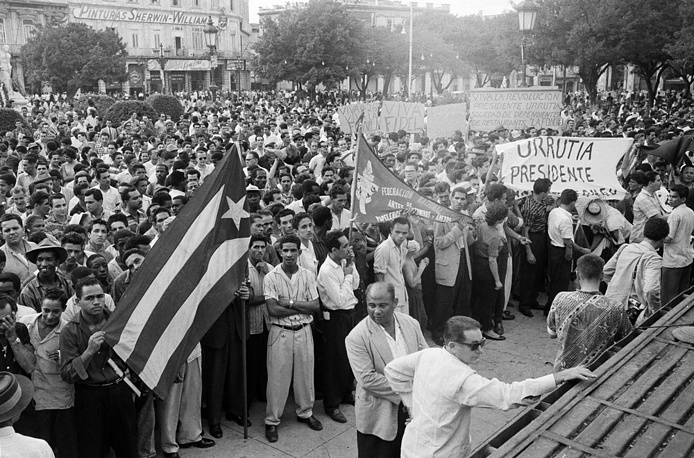 Supporters of Fidel Castro in Grand Central Park in Havana, 1959