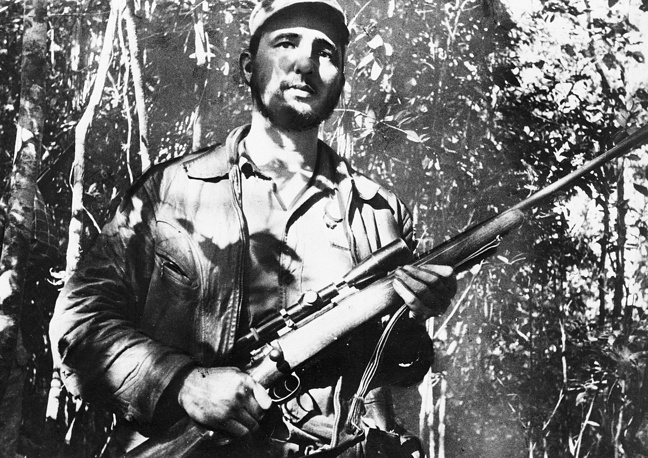 On December 2, 1956 Fidel Castro and 81 other future revolutionaries landed in Cuba on the yacht Granma. It was the start of the guerilla war against dictator Fulgencio Batista. Photo: Fidel Castro in Cuba, 1957