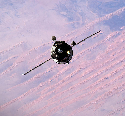 Progress spacecraft before docking with the ISS