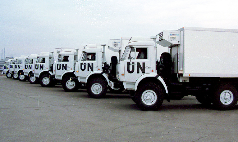 First lot of trucks for the UN manufactured at Kamaz plant in Tatarstan, 1999