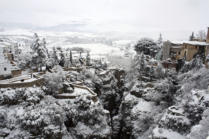 The city of Ronda after a heavy snowfall in the province of Malaga, southeastern Spain, January 19