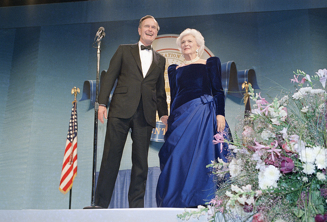 George Bush and Barbara Bush at one of the inaugural balls in Washington, 1989