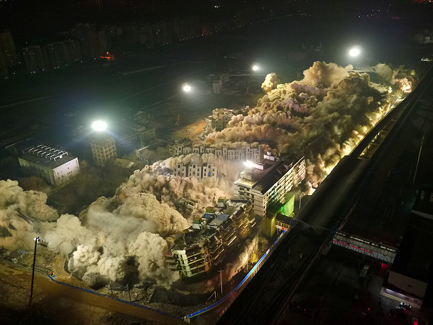 Nineteen buildings in the city of Wuhan demolished by a controlled explosion in China, January 21