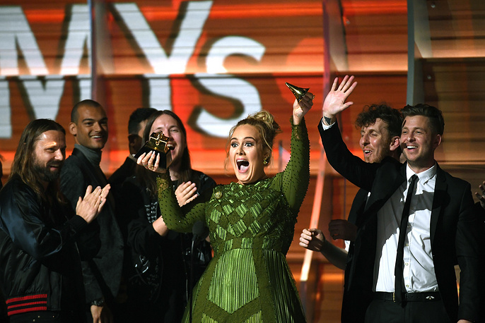 Adele, winner of Album of the Year for '25,' onstage during The 59th GRAMMY Awards at STAPLES Center in Los Angeles, USA, February 12